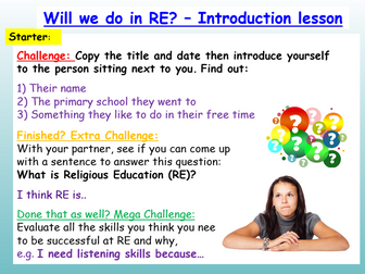 RE Introduction to Religious Education