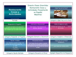 Restaurant Things and Activities Spanish PowerPoint Presentation