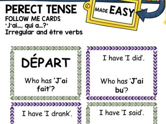 French Follow Me Cards: Perfect Tense irregular and être verbs