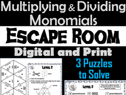 Multiplying and Dividing Monomials Activity: Escape Room Math