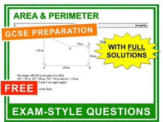 GCSE 9-1 Exam Question Practice (Area + Perimeter)