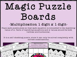 Magic Puzzle Boards - Multiplication Fact Practice 1-12