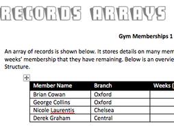[GCSE+IGCSE] RECORDS ARRAYS FLOWCHARTS