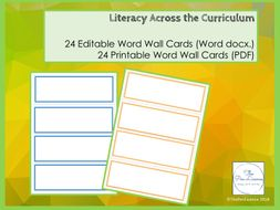 Printable and Editable Word Wall Cards
