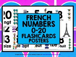 FRENCH CLASSROOM DISPLAY: PRIMARY FRENCH NUMBERS 1-20 FLASHCARDS POSTERS