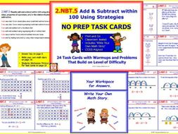 2.NBT.5 Math NO PREP Task Cards— Add & Subtract within 100 Using Strategies