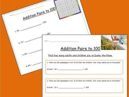 Two Worksheets About Addition Pairs to 100 by Eugie - Teaching ...