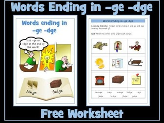 -ge and -dge sounds / words free worksheet
