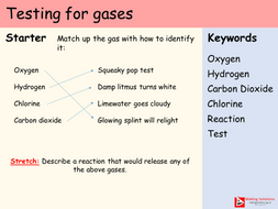 AQA Chapter 8 - Lesson 2 - Testing for Gases