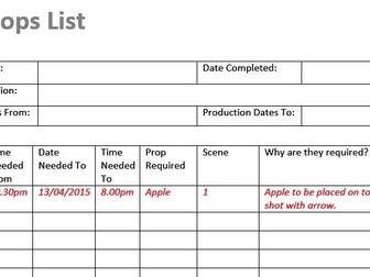 Props List (Film & TV/Media/Drama Students)