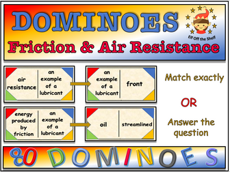 Forces - Friction and Air Resistance Dominoes KS3