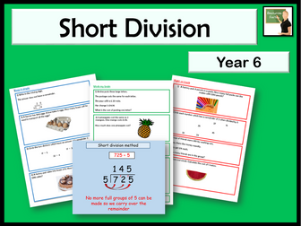 Maths- Short division method- Year 6- interpreting remainders in context lesson