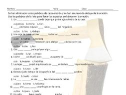 House Repairs, Tools, and Supplies Missing Words Spanish Worksheet