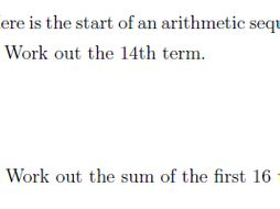 The nth term and sum of an arithmetic sequence worksheet (with ...