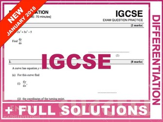IGCSE 9-1 Exam Question Practice (Differentiation)