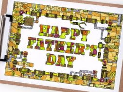 """Happy Father's Day coloring page - Printable 8.5x11"""" mechanical coloring page for Father's Day"""