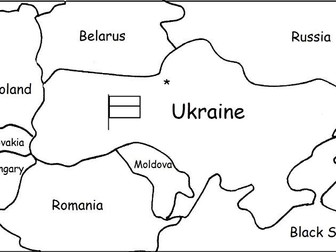 UKRAINE - Printable handouts with map and flag