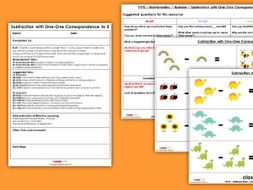 EYFS Maths Subtraction with One-One Correspondence to 5 Planning, Resources & Observation Pack