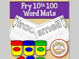 Sight Word Mats:  Fry 10th 100 Word Mats – Black and White