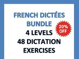 GCSE FRENCH: 48 French Dictation Exercises Bundle - Dictées - 4 Levels