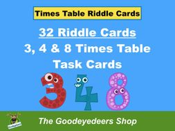 Times Table Task Cards - 3,4 & 8