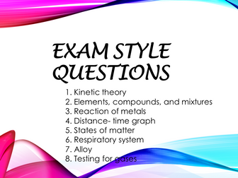Revision 2 - Exam style questions (KS3, Year 8, IGCSE)