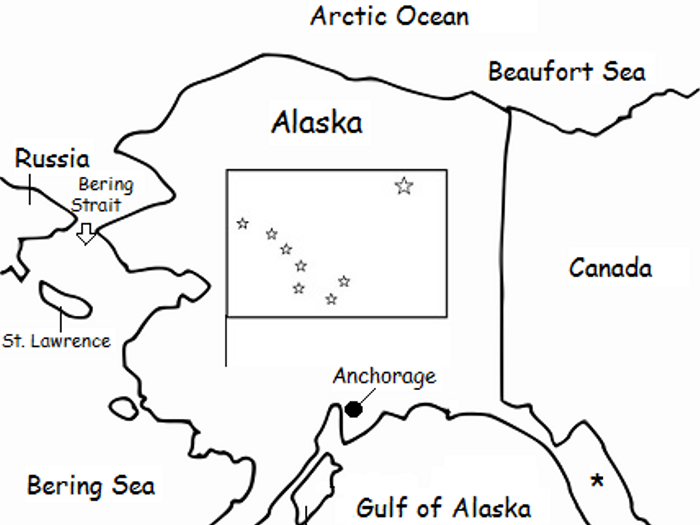 image relating to Printable Maps of Alaska identified as ALASKA - printable handout with map and flag