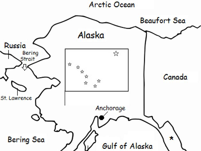 graphic relating to Printable Map of Alaska identify ALASKA - printable handout with map and flag