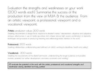 BTEC L3 Production Arts UNIT 2 Make up MU  - Unit Tracker, Evaluation helpsheet & App crits