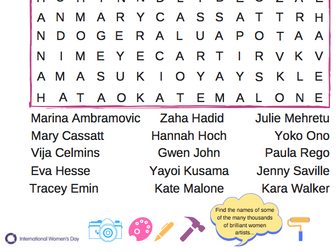 International Women's Day Artist Word Search