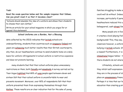 AQA Paper 2, Question 5 Proofreading Task: School Uniform