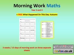 Morning Work Maths (+ FREE WHAT HAPPENED ON THIS DAY: AUTUMN)