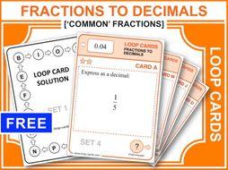 Fractions to Decimals 1 (Loop Cards)