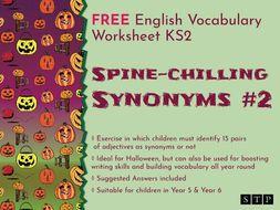 English Worksheet Synonyms Halloween KS2 02