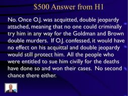 Jeopardy Law Game, O. J. Simpson Cases, Criminal & Civil Law