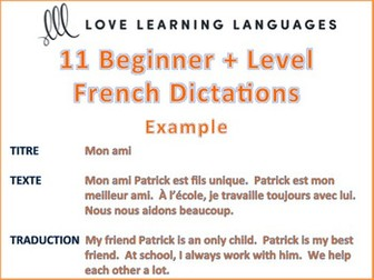 GCSE FRENCH: 11 Beginner + French Dictées