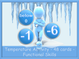 Negative Numbers and Temperature Activity - 48 cards -  Functional Skills E3 L1 L2