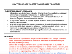 LOS VALORES TRADICIONALES Y MODERNOS FACT SHEET - A LEVEL SPANISH AQA