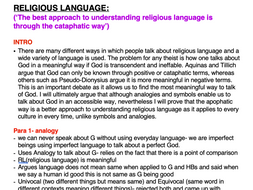 OCR RELIGIOUS STUDIES FULL Philosophy A2 ESSAY PLANS