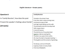 GCSE AQA Unseen Poetry  Practice Questions and Lesson