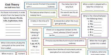 GCSE Theory Key Term Tests