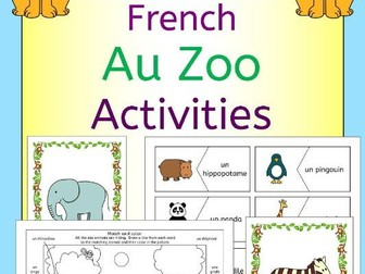 French Au Zoo - Zoo animals activities pack