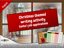 English - Christmas themed writing activity - Santa's job applications
