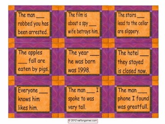 Relative Clause Cards 4 Pages = 36 Cards