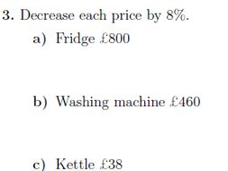 Percentage Increases And Decreases Worksheet With Solutions By