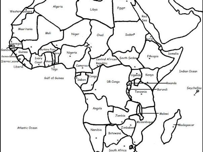 photograph about Printable Africa Map known as Africa - Continent - Printable handouts with map and record of nations
