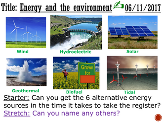 Energy and the environment - complete lesson (GCSE 1-9)