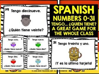 SPANISH NUMBERS 0-31 I HAVE, WHO HAS?