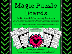Magic Puzzle Boards Adding and Subtracting Decimals