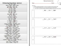 Balancing Equations Worksheet PLUS Quiz (Keys included) by ...